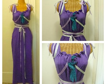 Purple Fairy Party Dress Corset Midsummers Night Renaissance Faire Custom Womens Cotton Gauze