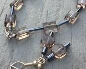 Smokey bead earring bracelet set, bracelet set, earring set, smokey bead bracelet