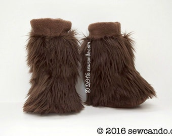Kid's Wookie Inspired Furry Fluffy Little Fuzzball Brown Faux Fur Slippers