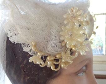 1920s-1930s Wax Orange Blossom Wire Shaped Wedding Crown Tulle Veil Tiara