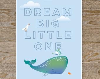 Whale Ocean wall art, Bathroom art, Dream Big, nursery art for kids, wall decor,