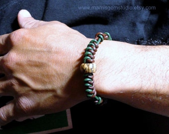 Mens Casual Leather Bracelet | Green & Brown Leather with Jasper Stone and Clasp, Bracelet Gift for Men, Guys, Dads, Him