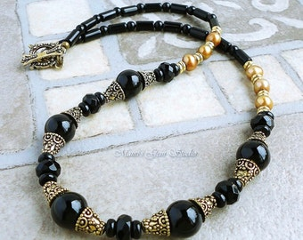 Black Onyx Gemstone and Pearl Necklace in Golden Brass 18in, Handcrafted, Women