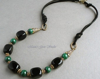 Chunky Black Onyx & Green Malachite Necklace, Deerskin Leather, Antiqued Gold Brass, Handmade Jewelry