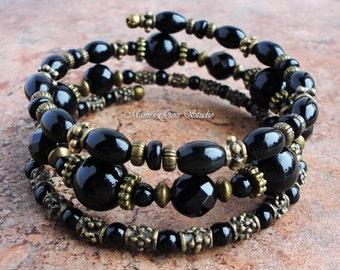 Black Onyx Bangle Bracelet, Memory Wire, Wrap Around Gemstone Jewelry, Gothic, Handmade