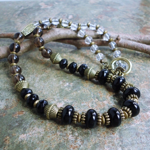Gemstone Bead Necklace, Black Onyx, Smoky Quartz, Rock Crystal 18in, Handmade Jewelry