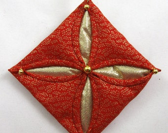 Red  and Gold Cathedral Window Quilted Christmas Ornament 137