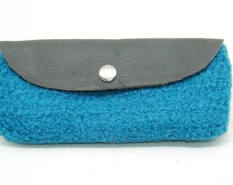 Felted Wool and Leather Sunglasses Case or Pouch - Turquoise Blue - Large Wallet