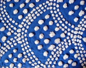 Royal Blue and White Handmade Candlewick Vintage Chenille Fabric 12 x 24 Inches