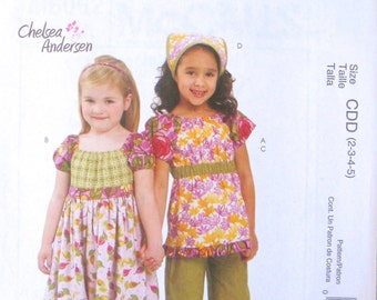 McCall's Pattern by Chelsea Andersen - Dress, Top, Capri Pants and Kerchief - Girl's Sizes 2,3,4,5
