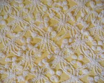 Beautiful Cabin Crafts Daffodil Yellow with Wedding Ring and Pops Vintage Cotton Chenille Bedspread Fabric 12 x 24 Inches