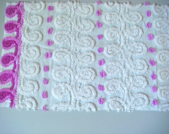 Tonal Purple Pops and Swirls Vintage Cotton Chenille Bedspread Fabric 16 x 21 Inches