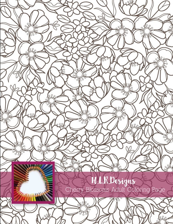 Cherry blossom coloring pagedigital stampadult for Cherry blossom coloring pages
