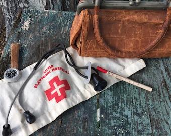 ANTIQUE MEDICAL KIT Children's Toy, Little Playtown Hospital, Medical Bag, Nurse Hat, Stethoscope Thermometer, Watch at A Vintage Revolution