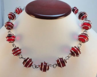 60s Vintage Caged Red Glass Orbs Beads necklace choker