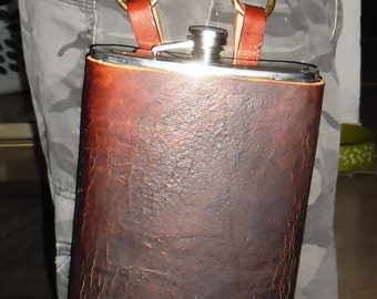 Giant 0.5 gal / 2 liter / 64 oz steampunk side flask w/ real antique leather + FREE pendant