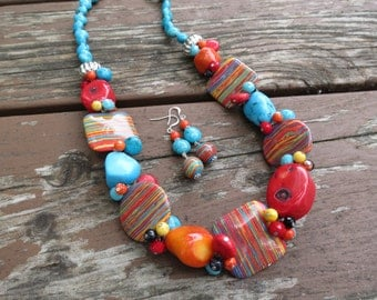 African Turquoise with Howlite, Red Coral, Orange Coral and Crystals