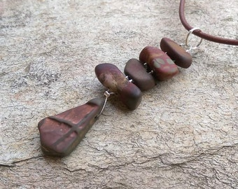 Jasper - River stone necklace. Earthy unique jewelry handmade from natural stone.