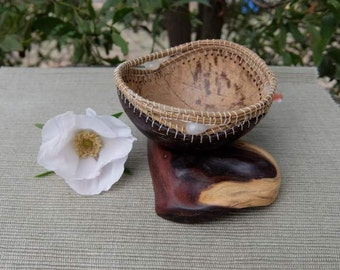 Ceremonial bowl - acacia wood holding coconut bowl - handmade in Australia