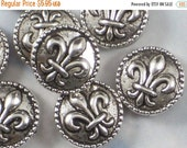 SALE 8 Fleur de Lis Coin 16mm Beads Antiqued Silver SiDE to SiDE Hole Beaded Edge Nola (P393)