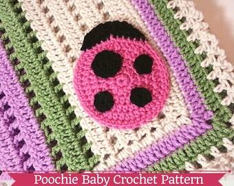 PATTERN - Crochet Baby Ladybug Receiving Blanket