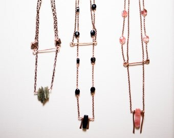 Copper Boho Layered Necklace - Black