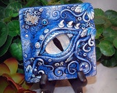 Ooak Polymer Clay Dragon's Eye Blue 3 Dimensional Wall Hanging Plaque #04 With Genuine Swavorski Crystals Fantasy Art Home Decor