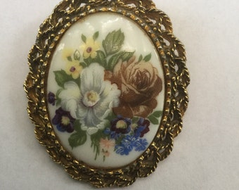 Vintage Victorian Revival Floral Hand Painted Porcelain Flower Pin
