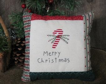 Candy Cane Rustic Primitive Christmas Decorative Pillow