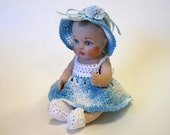 "Handcrafted Porcelain 5"" Doll in Blue Crocheted Dress"