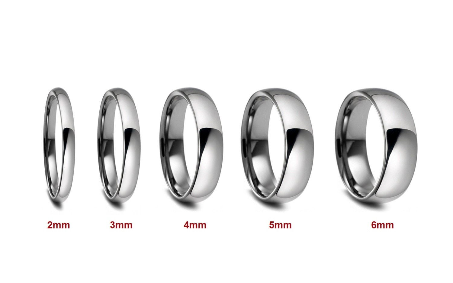 2mm 3mm 4mm 5mm 6mm width stainless steel wedding band