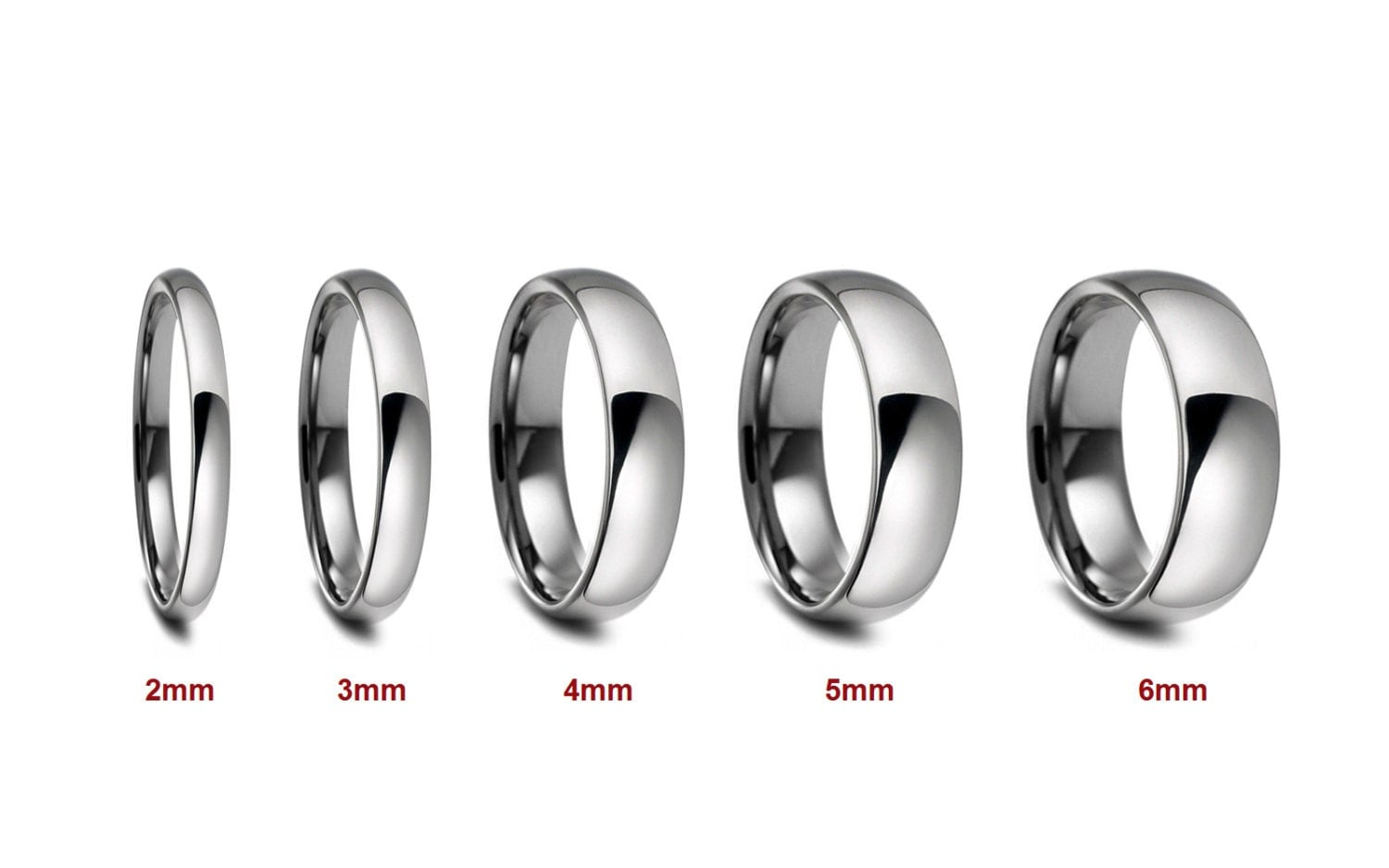 2mm 3mm 4mm 5mm 6mm width stainless 2mm wedding band 2mm 3mm 4mm 5mm 6mm Width Stainless Steel Wedding Band Comfort Fit Dome Top Polished or Satin Brushed Finish