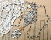 necklace repurpose watch case assemblage rosary cottage chic birds rhinestone diorama