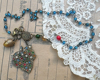 fall leaf necklace upcycle assemblage acorn