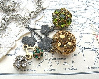 rhinestone ball necklace assemblage pendant upcycled vintage jewelry winter snowball