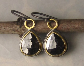 Black Diamond Earrings, Black Rose Cut Diamond Earrings, 22k Yellow Gold and Sterling Black Diamond Slice Earrings
