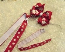 Combo Set of Double Boutique Hair Bow, Non Slip Headband adjustable, and Pony-o all in Paw Prnt. Choose color of your Paw, Gift Ideas