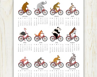 2016 Animals on Bikes Calendar printable 8x10