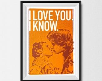 Star Wars Inspired Print (Heroes Series: HAN & LEIA ORANGE)