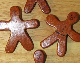Folk Art Carved Wood 4 GINGERBREAD PINS