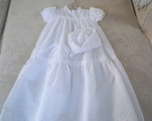 Vintage Clothing Baby Girl Christening Gown 6 Month Bonnet and Gown