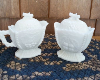 Vintage Dining Serving Milk Glass Sugar and Creamer Set Westmoreland Hallmarked