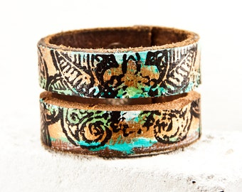 Boho Leather Cuff Unique Wristband Jewelry Handmade by Rainwheel