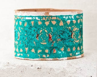 Turquoise Jewelry 2016 Bracelet - Bohemian Teal Cuff Wristbands - Leather Cuff, Leather Jewelry, Leather Bracelets, Leather Goods