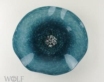 Blown Glass Wall Sculpture Opaque Denim Blue Green Wall Art Glass Poppy