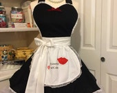 Handmade French Maid woman's apron, sexy, full sweetheart, Costume party, Bridal gift, pin up, kitchen, fantasy