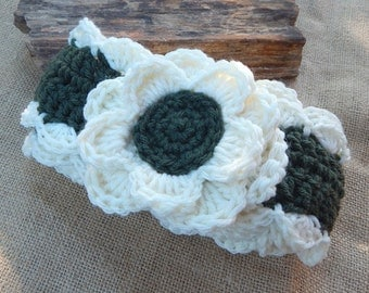 Crocheted Scarf with Flowers  ~  Aran and Forest Green Scarf with Flowers  ~ Crocheted Scarf  ~ Crocheted Winter Scarf  ~ Spring Scarf