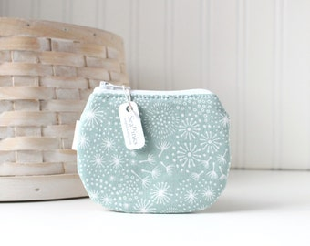 Teal and White Coin Purse Small Zipper Pouch Dandelion Fluff Change Purse