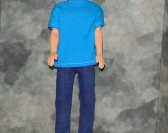 KEN1-29) Ken doll clothes, 1 blue t-shirt and blue jeans