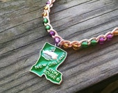Mardi Gras Anklet with Louisiana State Charm size choice